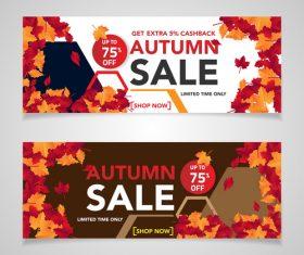 Autumn sale banners template design vector 02