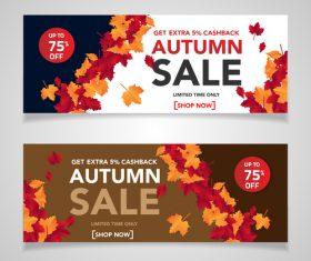 Autumn sale banners template design vector 03