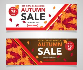 Autumn sale banners template design vector 05