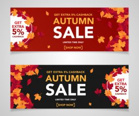 Autumn sale banners template design vector 06