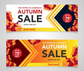 Autumn sale banners template design vector 07