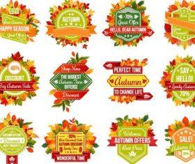 Autumn sale labels vectors set