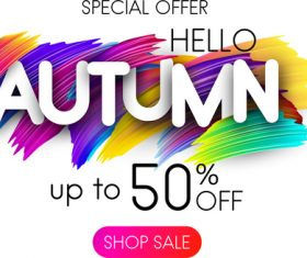 Autumn special offer with paint background vector 01