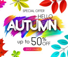 Autumn special offer with paint background vector 02