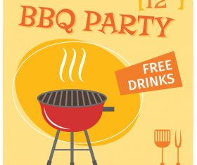 BBQ party poster template vector design