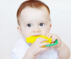 Baby biting a toy Stock Photo 01