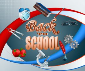 Back to school background with red apple vector