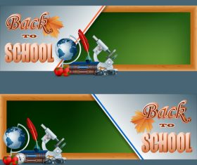 Back to school banners with autumn leaves vector