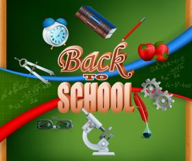 Back to school with green blackboard background vector