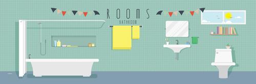 Bathroom design vector material 01
