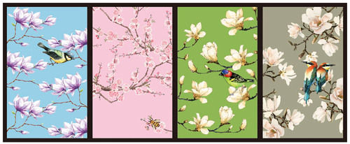 Beautiful flower and bird figure decorative painting vector material