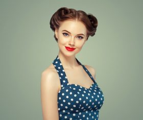 Beautiful girl with retro hairstyle Stock Photo 01