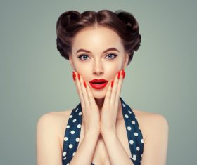 Beautiful girl with retro hairstyle Stock Photo 02