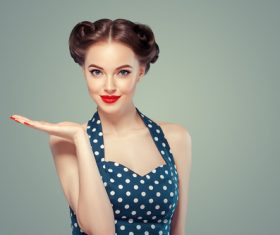 Beautiful girl with retro hairstyle Stock Photo 05