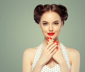 Beautiful girl with retro hairstyle Stock Photo 06