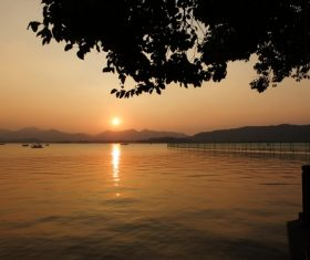 Beautiful view at dusk Stock Photo 03