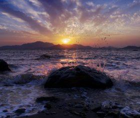 Beautiful view at dusk Stock Photo 05