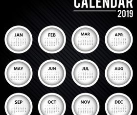 Black 2019 calendar round template vector 01