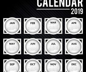 Black 2019 calendar round template vector 02