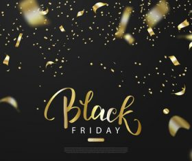 Black firday sale background with golden confetti vector