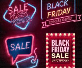 Black firday sale neon logos vector