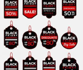 Black firday sale tags vectors 02