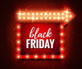 Black friday neon poster with arrow sign vector