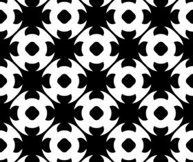 Black with white geometric seamless pattern vector 05