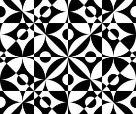 Black with white geometric seamless pattern vector 09