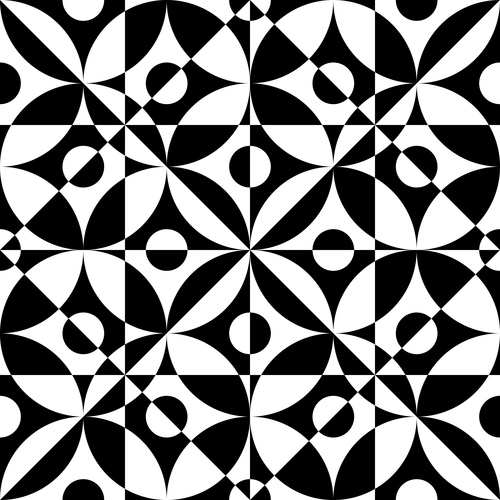 Black with white geometric seamless pattern vector 09 free