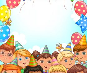 Blank holiday banner with balloons and funny kids vector