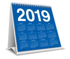 Blue 2019 desk calendar template vector 01