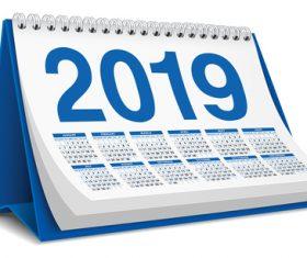 Blue 2019 desk calendar template vector 02