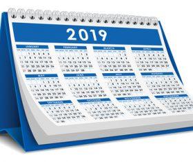 Blue 2019 desk calendar template vector 03