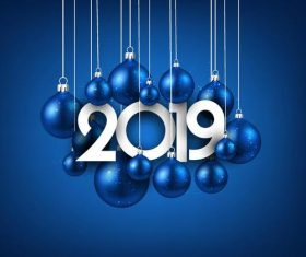 Blue 2019 new year background with christmas ball vector