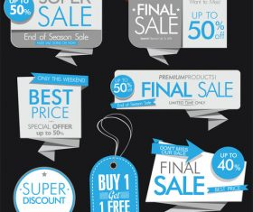 Blue sale banners and labels vector set