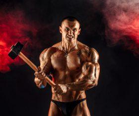 Bodybuilder Muscular Man Stock Photo 03