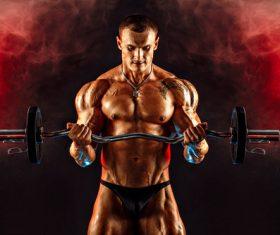 Bodybuilder Muscular Man Stock Photo 04
