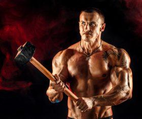 Bodybuilder Muscular Man Stock Photo 07