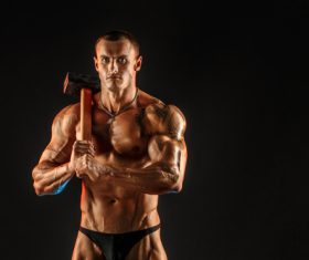 Bodybuilder Muscular Man Stock Photo 10