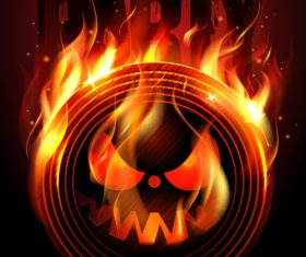 Burning Disc Halloween Party Poster red vector 01
