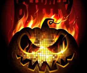 Burning Disc Halloween Party Poster red vector 02