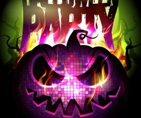 Burning Pumpkin Head Halloween Party Poster pink vector