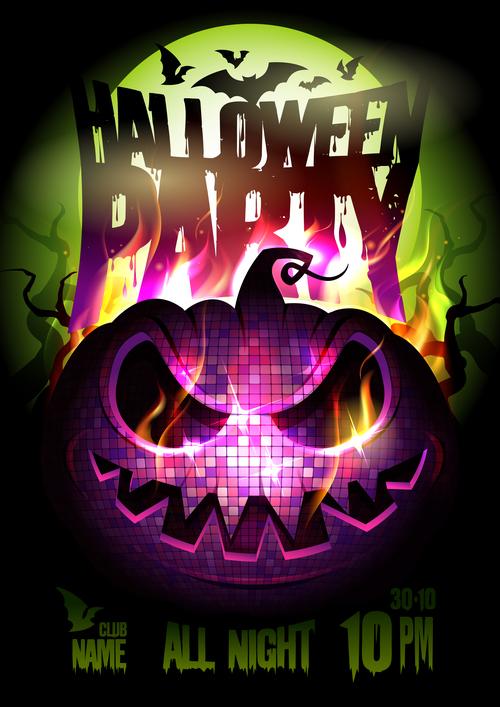 Burning Pumpkin Head Halloween Party Poster pink vector