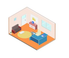 Business office reception room scene elements vector