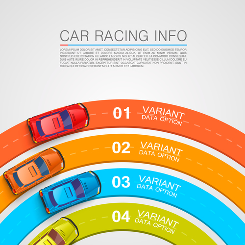 Car racing infographic vector template 02