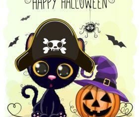 Cartoon animal with halloween card vector 01