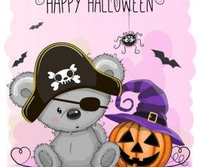 Cartoon animal with halloween card vector 02
