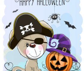 Cartoon animal with halloween card vector 03