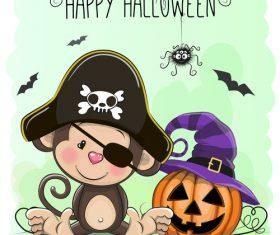 Cartoon animal with halloween card vector 04